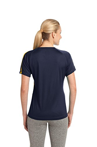 Sport-Tek Polo de Colorblock Competitor pour Femme True Navy/ Gold
