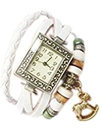 Demarkt Reloj Pulsera Forma de Cuadrado Cuarzo Cuero Trenzado Abalorio para Mujer Regalo Brazalete