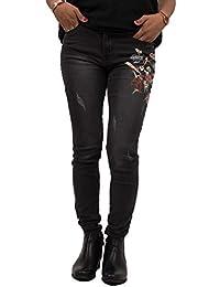 Primtex Jean Slim Noir Femme Taille Haute avec Broderie Fleurs   Oiseaux- b4bc98d48efd