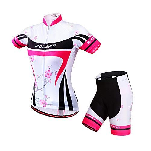 ROOKLY Radtrikot-Set Für Damen Atmungsaktives, Schnell Trocknendes Kurzarm-Radsport-Shirt Mit 3D / 4D-Gel Gepolsterte Shorts Für MTB Rennrad Radsportbekleidung,XL