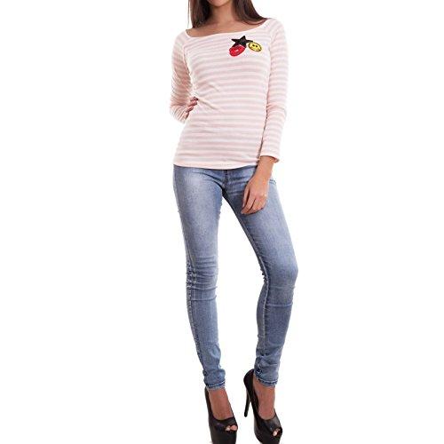 Maglia donna maglietta top paillettes maniche lunghe righe sexy nuova CJ-1967 [Taglia unica,nero] Rosa