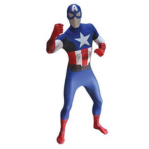Official Captain America Morphsuit Fancy Dress Costume - Large - 5'5-5'9 (163cm-175cm)