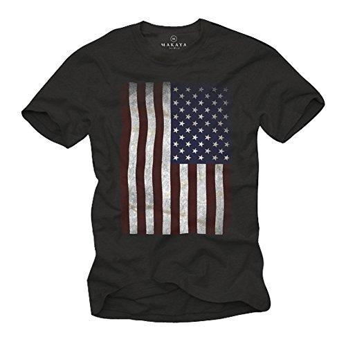 USA T-Shirt Herren AMERIKA FLAGGE schwarz Größe XL