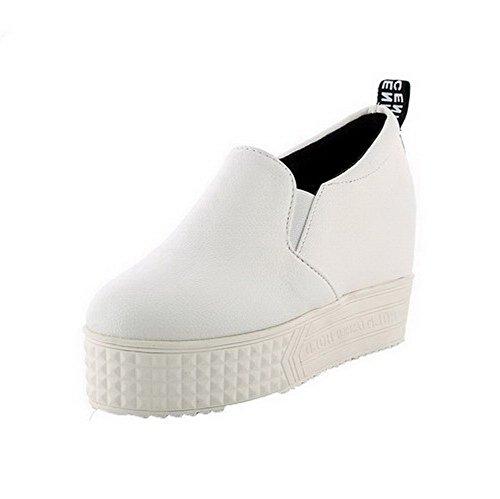Bico Alto Voguezone009 Sapatos Nobuk Limpa Puxar Salto Senhoras Redondo Brancos Bombas ZXqxwrtXF