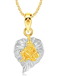 VK Jewels Sai Baba Gold & Rhodium Plated CZ Alloy American Diamond Pendant With Chain For Girls & Women [VKP3150G]