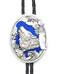 Bolo tie cravate cowboy Country Wolf Head Spirit email MADE IN USA - Cordon cuir # BT-134