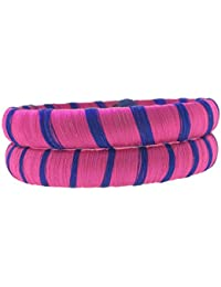 SURATNA Party Wear Traditional Rajasthani Silk Thread 2 Pc Pink & Blue Multi Color Bangle Set For Girls & Women...