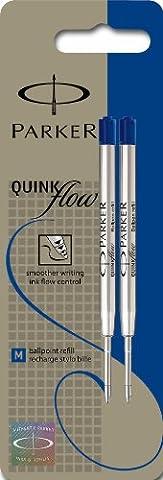 Parker S0909590 Ersatzminen QuinkFlow (für Kugelschreiber, mittlere Strichbreite, blaue Tinte, 2er-Pack)