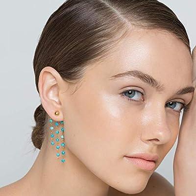 Boucles d'oreilles longues en argent sterling 925 avec chaîne de chapelet pendante, faites de véritables pierres turquoise, faites à la main par Emmanuela, boucles d'oreilles boho chic ear jacket