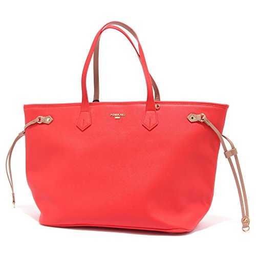 Pomikaki 8147T borsa donna BIANCA rosso corallo hand made bag woman [ONE SIZE]