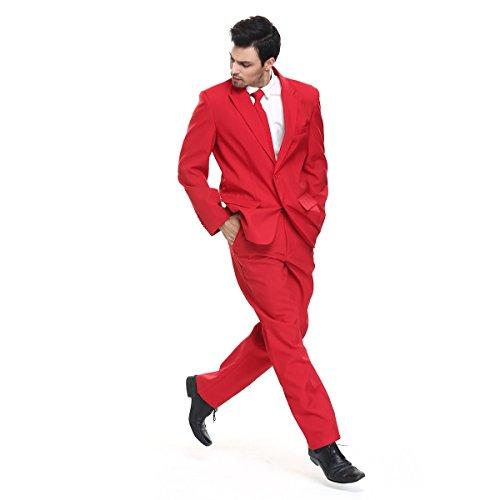 YOU LOOK UGLY TODAY Modisch Normaler Schnitt Herren Party Anzug Weihnachten Kostüme Festliche Anzüge Party Suits einheitliche Farbe (Grün Rot Kostüme)