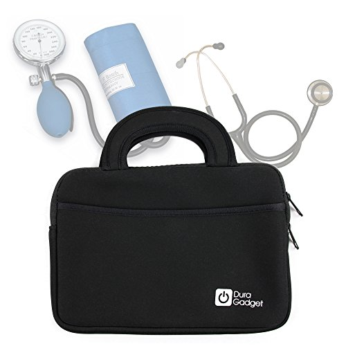 Black Neoprene Water-Resistant Case for Storing Medical Equipment (Stethoscope / Sphygmomanometer) - with Front Storage Compartment and Carry Handle - by DURAGADGET