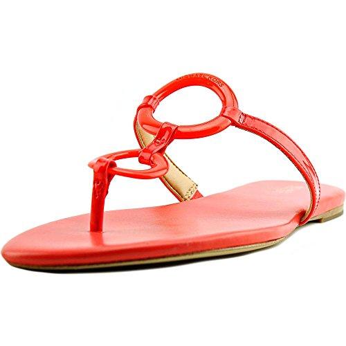 MICHAEL Michael Kors Women's Claudia Flat Sandal Coral Reef Patent Sandal 5.5 M -