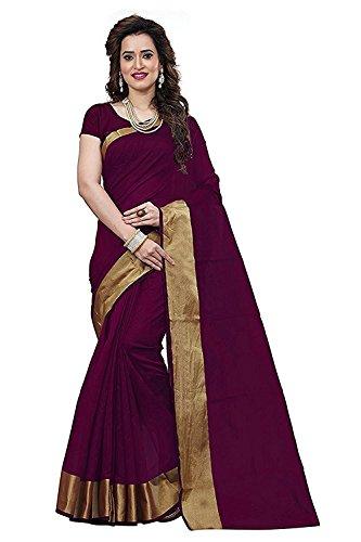 Purvi Fashion Women's Aura Cotton Silk Sarees With Blouse Pic(Aura_Cotton_Silk_Sarees_Free_SIze) (Maroon)