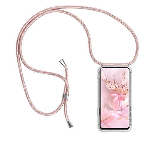 Funda Colgante movil con Cuerda para Xiaomi Mi Mix 2S, Carcasa Transparente de TPU con Ajustable Cordón [Anti-Choque] Anti-rasguños Suave Silicona Caso - Oro Rosa