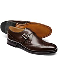 Chocolate Goodyear Welted Brogue Monk Shoe by Charles Tyrwhitt
