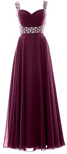 MACloth Women Straps Crystal Chiffon Long Prom Wedding Party Dress Evening Gown Wine Red