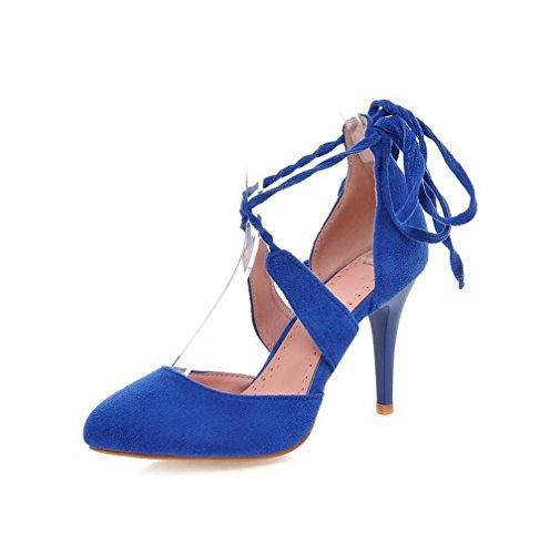 VogueZone009 Donna Allacciare Tacco Alto Pelle Di Mucca Puro Scarpe A Punta Punta Chiusa Ballerine Azzurro