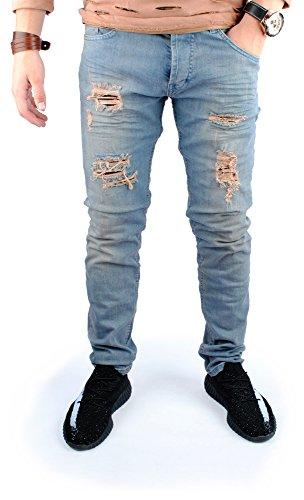 FiveSix Herren Slim-Fit Used-Look Denim Destroyed-Look Zerrissen Löcher Bikerjeans Jeans Hose mit Stretch Blau EU 32/32
