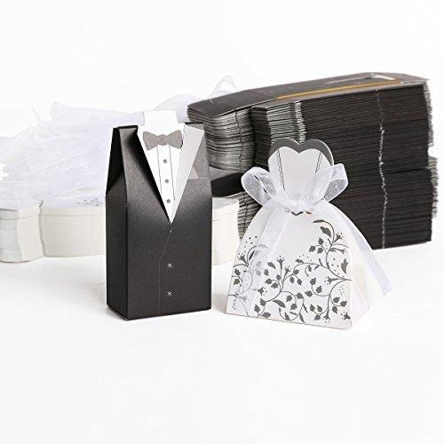 AOI 100 Stück Süßigkeiten Schachtel Hochzeitskasten Bonbons Schachtel für Hochzeit, (50 Paar) Hochzeit Brautkleid Entwurf Brautpaar Gastgeschenk -