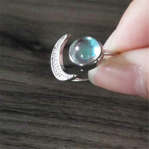 MOONRING Mondstein Ring Sweet Style Mond Ring Einfache Stil Ring Niedlichen Stil Ring, 10#