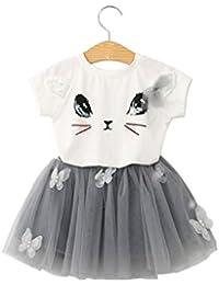 Camicia per bambini Cat Gonna,Yanhoo Top Butterfly Tutu Skirt Set Abbigliamento