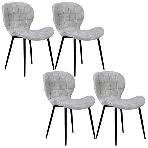 WOLTU 4 x Esszimmerstühle 4er Set Esszimmerstuhl Küchenstuhl Polsterstuhl Design Stuhl mit Rückenlehne, mit Sitzfläche aus Stoffbezug, Gestell aus Metall, Antiklederoptik, Hellgrau, BH98hgr-4