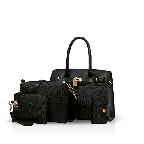 NICOLEDORIS-Fashion-Women-4-Pcs-Tote-Handbag-Shoulder-Bag-Crossbody-Bag-Card-Holder-Purse-PU-Leather
