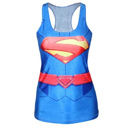 Nuovo donna Superman Galaxy Tank Vest Tops estate Tops Superhero Club wear vestiti taglia M 8 - 12