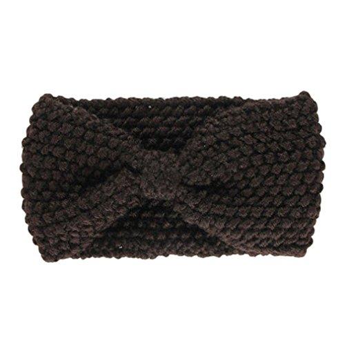 Hair Accessories, Kolylong® Accessoires Cheveux Hiver Crochet Flower Bow Tricoté Head Wrap Oreille Bandeau De Cheveux Warmer (Marron)