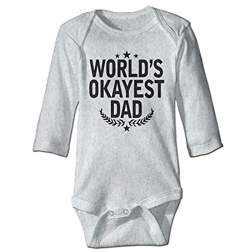 MSGDF Unisex Toddler Bodysuits World's Okayest Dad Girls Babysuit Long Sleeve Jumpsuit Sunsuit Outfit Ash
