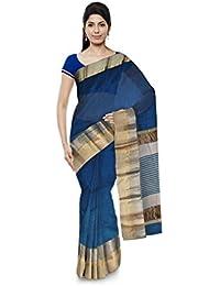 R K Chouhan Maheshwar Maheshwari Handloom Cotton & Silk Saree (Blue)