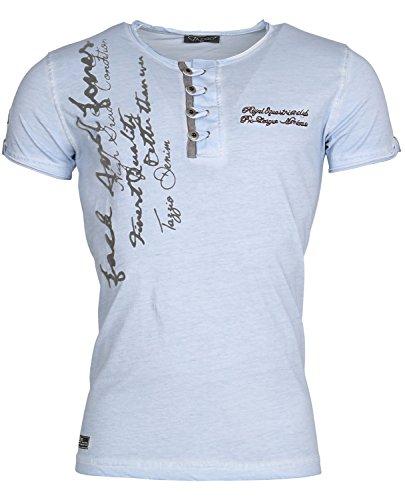 Tazzio Herren T-Shirt Poloshirt Polo Hemd Slim Fit Japan Style Kurzarm Blau Berkley