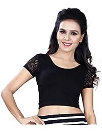 Fressia Fabrics Women'S Cotton Saree Blouse (Black Plain Blouse-Half_Black_Free Size)