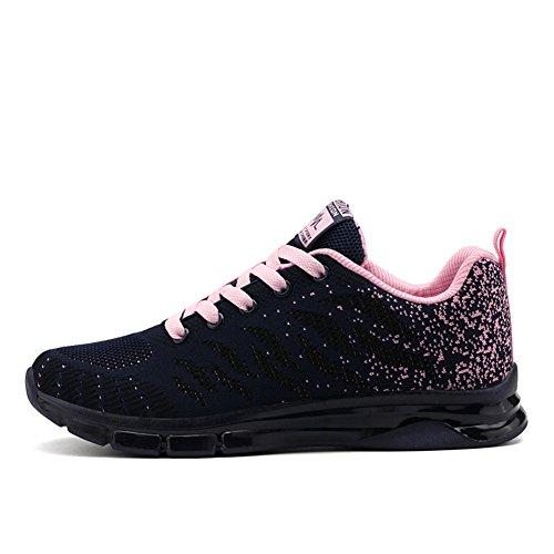 Fexkean Damen Mädchen Laufschuhe Low Top Sportschuhe Sneaker Turnschuhe Mesh Schwarz Pink Rot Violett 35-40(Pink39)