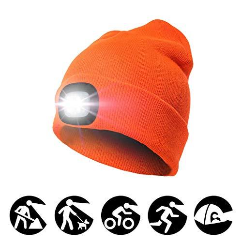 Heligen Cálido Sombrero de Punto con LED Gorro de Gorro Iluminado Unisex  USB Recargable Faro de 94cb69bd70a