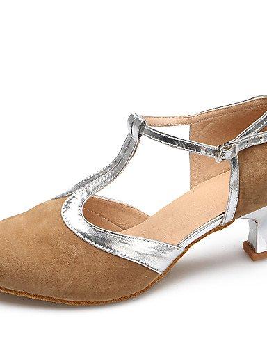 La mode moderne Sandales Chaussures de danse de daim/Cuir Daim Brevet Brevet/latin/cuir talon aiguille talons moderne Pratique/IndoorBlack US8.5/EU39/UK6.5/CN40