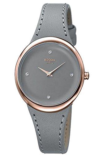 Boccia Damen Analog Quarz Uhr mit Leder Armband 3276-08