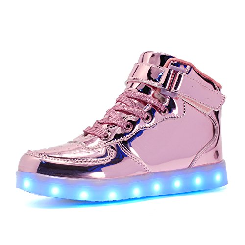 Voovix Kinder Litch Schuhe Blinkende Sneaker Led Leuchtende High-top USB Aufladen Shoes für Jungen und Mädchen(Rosa01,EU36) (Mädchen Light Up Schuhe)