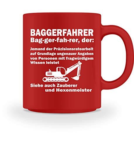 Hochwertiges Baggerfahrer Shirt - Tasse -M-Rot