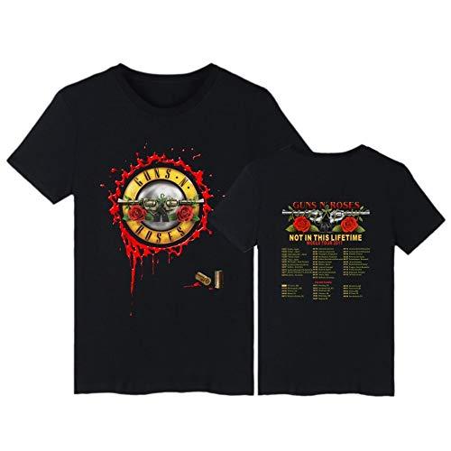 JJZHY Guns N \'Roses Legendary Band Klassisches T-Shirt mit Baumwolldruck Unisex,Schwarz,XXXXL