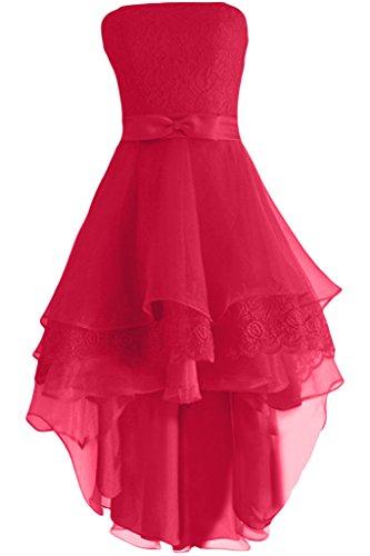 Gorgeous Bride Elegent Traegerlos Kurz A-Linie Satin Organza Spitze Cocktailkleid Festkleid Ballkleid Wassermelone