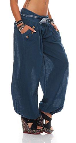 ZARMEXX dames bloomers pantalon d'été sarouel pantalon en coton baggy plage jeans bleu