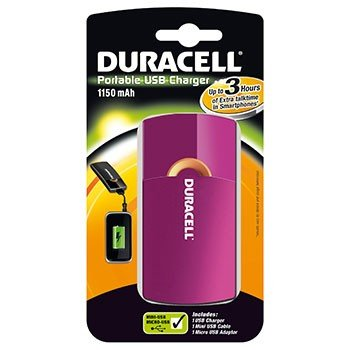 Duracell USB tragbares Ladegerät pink (Tragbaren Duracell Akku-ladegerät)