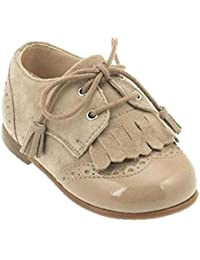 Beberlis 19289-W16 - Blucher infantil niño calasic ante natiral charol (28, Beige)