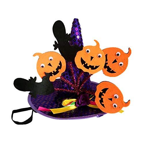 Doubleer Haustier-Halloween-Hexen Magischer Hut mit Kappe Headwear Multicolor mit Stern-Dekor-Partei-Kostüm-Hut für Katzen/Kleine Hunde