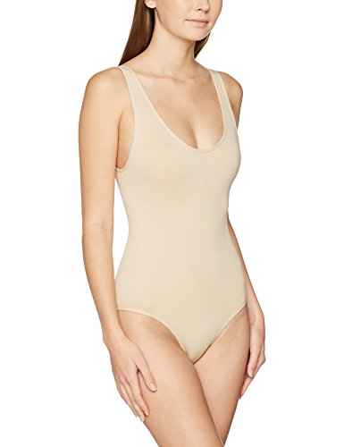 FM London Damen Nahtloser Formender Body Firm Control Shapewear, Beige (Nude), 36/38 EU (Herstellergröße: 8/10 UK / Small) - Firma Control Bodysuit
