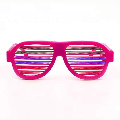 D Light Blinds Voice-Aktivierte Gläser Neon Party Favor Verschiedene Farben Glühen In Der Dunklen Party Supplies Pack,Pink ()