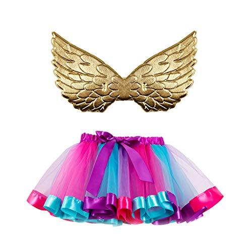 Dasongff Rainbow Tutu Rock mit Flügel 2 Stück Kinder Prinzessin Kleid Unterrock Partykleid Ballett Outfit Engelsflügel Leistung Kostüm Wings für Kleinkind Mädchen Fasching Karneval - Alte Frau Kostüm Für Kleinkind