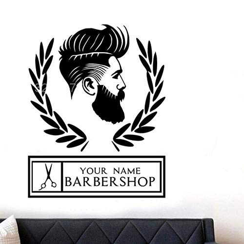 Wandaufkleber Friseur Hipster Mann Silhouette Wandkunst Aufkleber Für Fenster Wasserdicht
